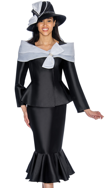 GMI 6992-BW ( 2pc Silk Look Womens Church Suit With Portrait Collar And Bow In Organza, Peplum Jacket And Flounce Hemmed Skirt )