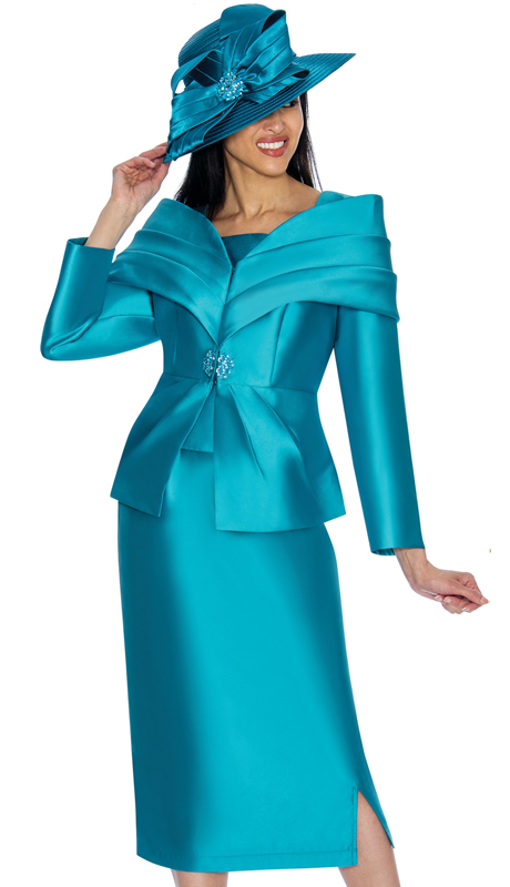 GMI 6982-TE-IH  ( 2pc Silk Look Womens Suit For Church With Portrait Collar And Rhinestone Buckle )