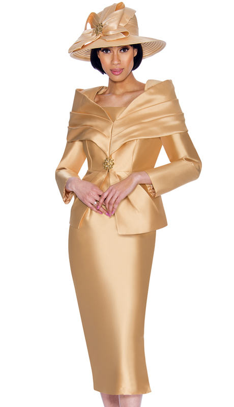 GMI 6982-CH-IH  ( 2pc Silk Look Womens Suit For Church With Portrait Collar And Rhinestone Buckle )