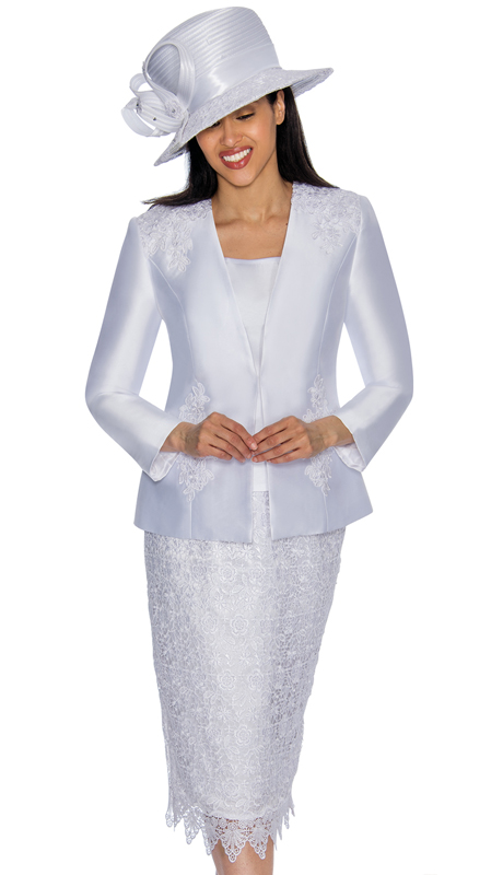 GMI 6963-WH-IH ( 3pc Silk Look Church Suit With Lace Detailing On Skirt And Jacket )