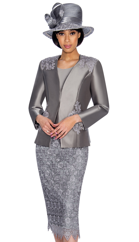 GMI 6963-GM-IH ( 3pc Silk Look Church Suit With Lace Detailing On Skirt And Jacket )