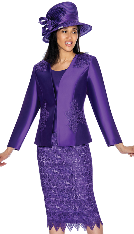 GMI 6963-PU-IH ( 3pc Silk Look Church Suit With Lace Detailing On Skirt And Jacket )