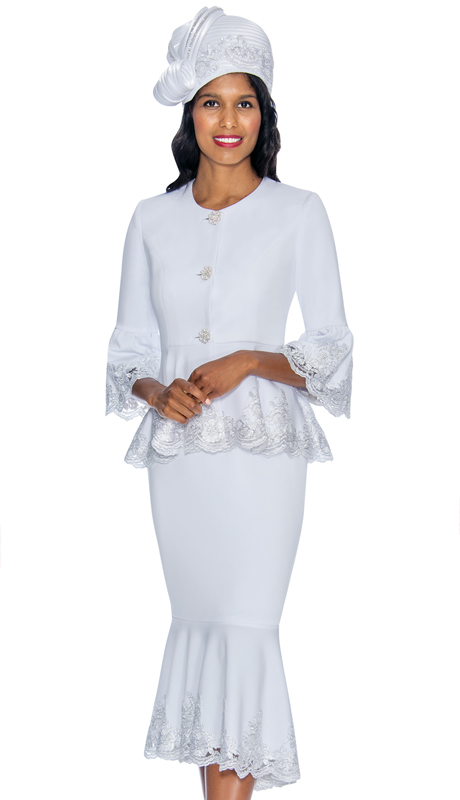 GMI 6952-WH-IH ( 2pc Silk Look Womens Church Suit With Peplum Jacket And Lace Trim )