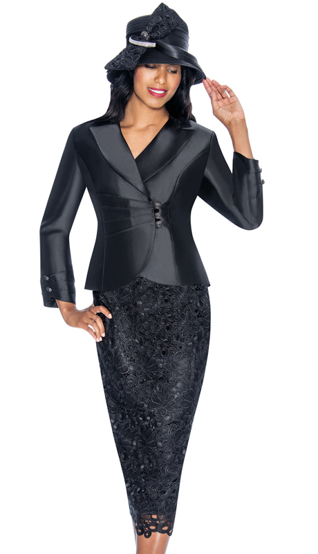 GMI 6942-BK-IH ( 2pc Silk Look Church Suit With Lace Detailing On Skirt And Jacket )