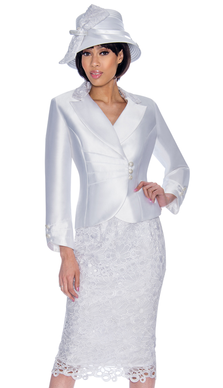 GMI 6942-WH-IH ( 2pc Silk Look Church Suit With Lace Detailing On Skirt And Jacket )