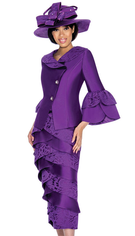 GMI 6932-PU-IH ( 2pc Silk Look Womens Sunday Suit With Tiered Layers In Lace )