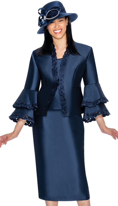 GMI 6923-NA-IH ( 3pc Silk Look Church Suit With Laser Cut Out Design  On Jacket And Double Flare Cuffs )