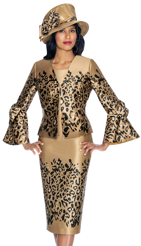 GMI 7053-AM-IH ( 3pc Novelty Womens Sunday Suit In Leopard Print With Flounce Sleeves And Bow )