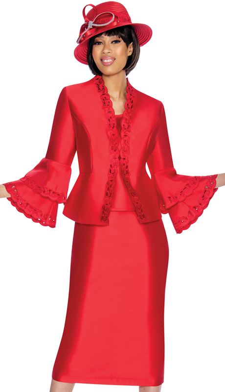 GMI 6923-RE-IH ( 3pc Silk Look Church Suit With Laser Cut Out Design  On Jacket And Double Flare Cuffs )