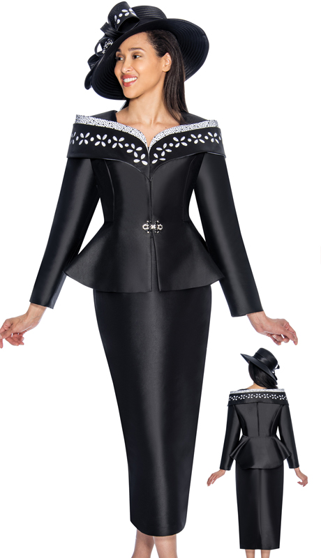 GMI 6912-BW-IH ( 2pc Silk Look Church Suit With Embellished Portrait Collar And Peplum Jacket )