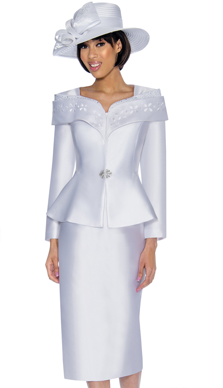 GMI 6912-WW ( 2pc Silk Look Church Suit With Embellished Portrait Collar And Peplum Jacket )