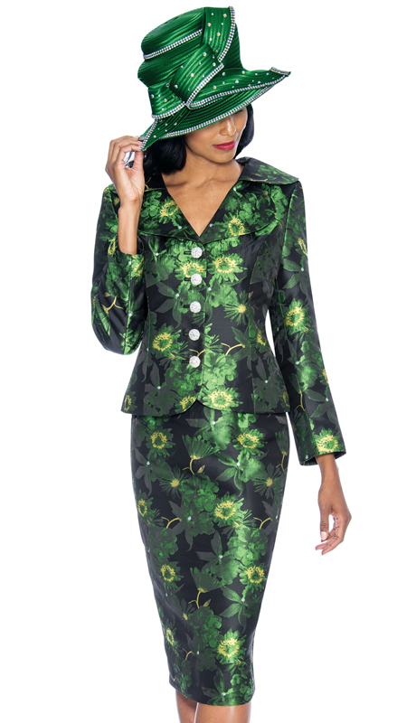 GMI 6892-EM-IH ( 2pc Novelty Printed Church Suit With Ornate Rhinestone Buttons )