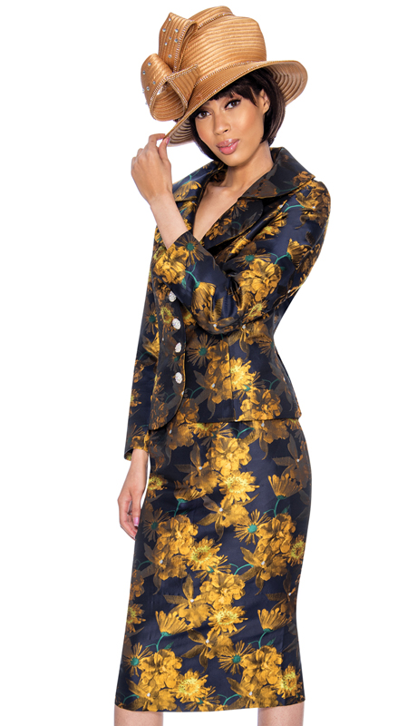 GMI 6892-GO-IH ( 2pc Novelty Printed Church Suit With Ornate Rhinestone Buttons )