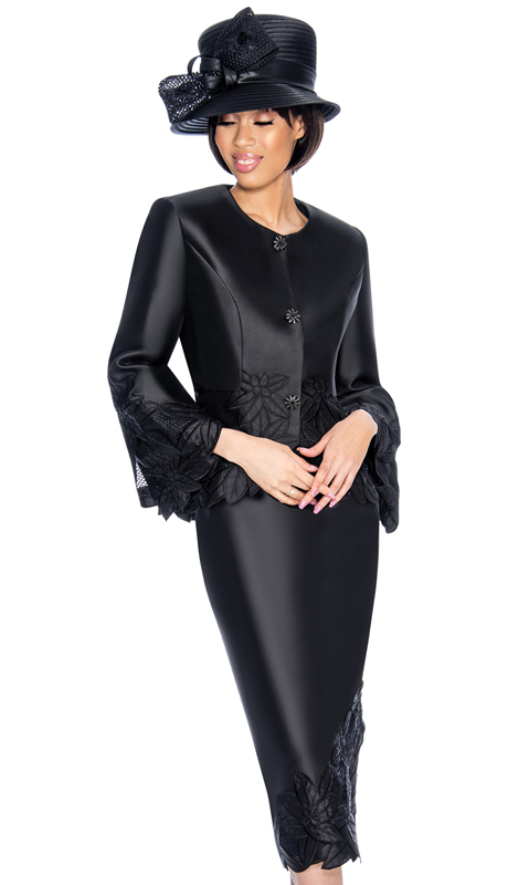 GMI 6772-BK-IH ( 2pc Silk Look Womens Church Suit With Peplum Jacket And Lace Trim )