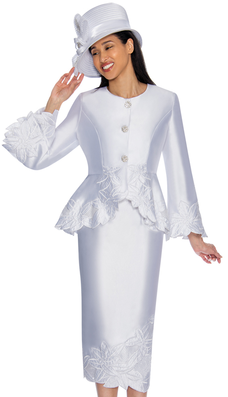 GMI 6772-WH-IH ( 2pc Silk Look Womens Church Suit With Peplum Jacket And Lace Trim )