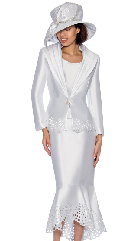 GMI 6643-WH-IH  ( 3pc Silk Look Womens Church Suit With Laser Cut Scalloped Hem And Rhinestone Buckle )