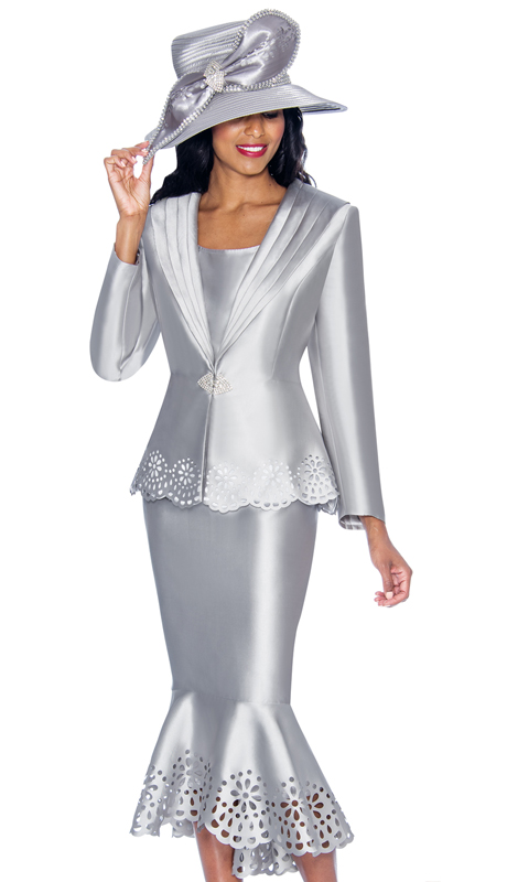 GMI 6643-SI-IH  ( 3pc Silk Look Womens Church Suit With Laser Cut Scalloped Hem And Rhinestone Buckle )