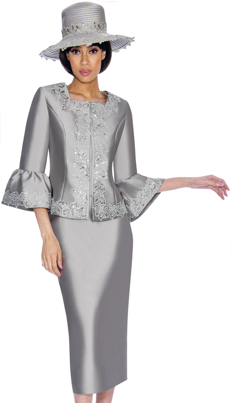 GMI 7042-SI-IH ( 2pc Silk Look Womens Church Suit With Lace Applique, Square Neckline, Flounce Sleeves And Pleated Peplum )