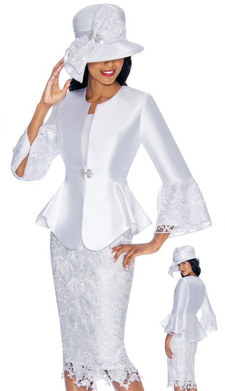 GMI 7032-WH-IH ( 3pc Silk Look Womans Church Suit With Laser-Cut With Scalloped Hem And Rhinestone Buckle )