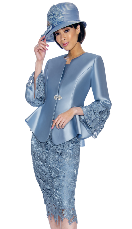 GMI 7032-PE-IH ( 3pc Silk Look Womans Church Suit With Laser-Cut With Scalloped Hem And Rhinestone Buckle )
