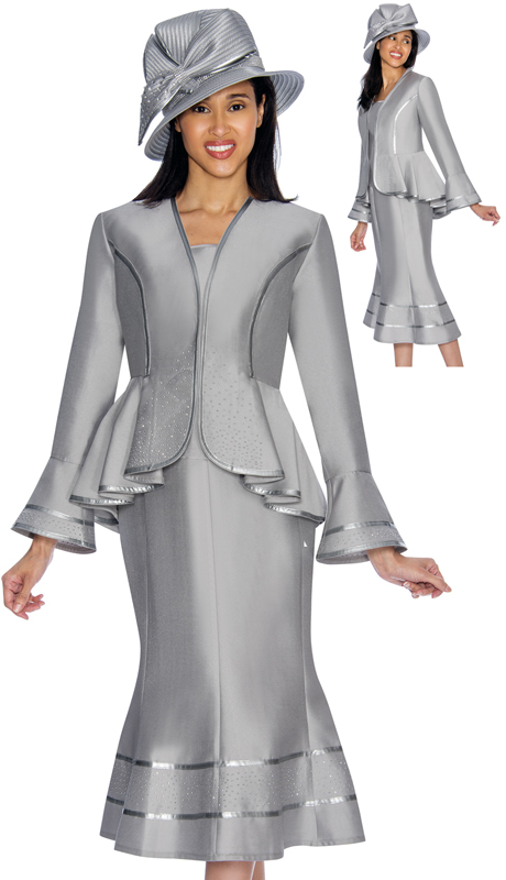 GMI 7023-SI-IH ( 3pc Silk Look Womens Church Suit With Peplum Jacket And Cascading Rhinestone Trim )