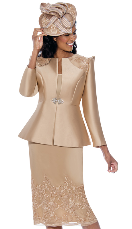 GMI 8153-CH-IH ( 3pc Silk Look Ladies Suit For Church With Pointed Accent Shoulders And Lace Skirt )