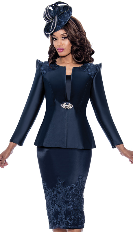 GMI 8153-N-IH ( 3pc Silk Look Ladies Suit For Church With Pointed Accent Shoulders And Lace Skirt )