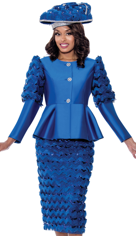 GMI 8172-RO-IH ( 2pc Silk Look Womens Church Suit With Beautifully Textured Shoulders, Skirt, And Jeweled Buttons )