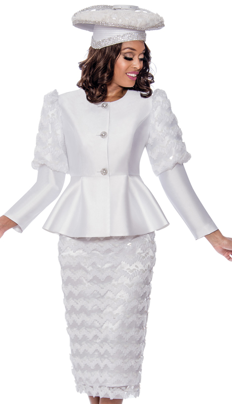GMI 8172-W-IH ( 2pc Silk Look Womens Church Suit With Beautifully Textured Shoulders, Skirt, And Jeweled Buttons )