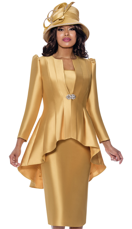 GMI 8203-GO-IH ( 2pc Silk Look Ladies Sunday Suit With Pleated High-Low Jacket And Beautiful Clasp )