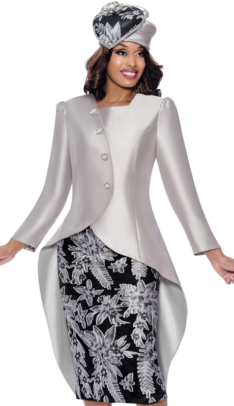 GMI 8232-SB-IH ( 2pc Silk Look Womens High-Low Sunday Suit With Patterned Skirt And Asymmetrical Decorative Buttons )