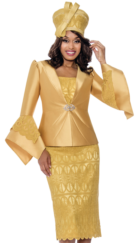 GMI 8272-GO-IH ( 3pc Silk Look First Ladies Sunday Suit With Lace Embroidery And Pointed Bell Sleeves )