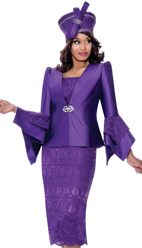 GMI 8272-PUR-IH ( 3pc Silk Look Womens Suit For Church With Lace Embroidery And Pointed Bell Sleeves )