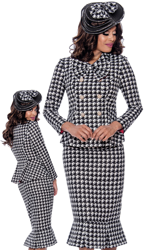 GMI 8292-BW-IH ( 2pc  Novelty Womens Sunday Suit With Houndstooth Design And Large Bow Trim )