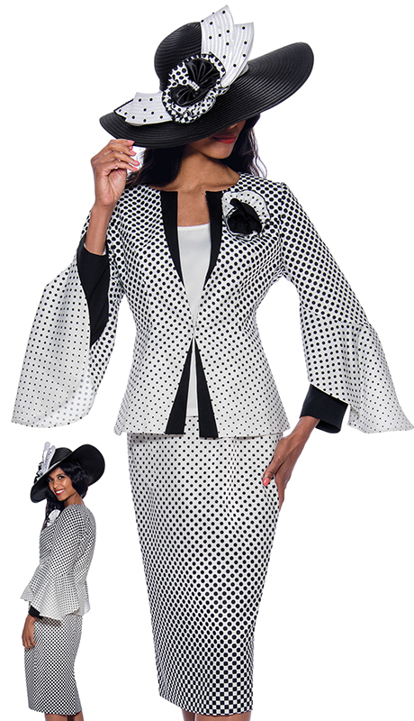 GMI 8733 ( 3pc Silk Look Womens Church Suit With Polka Dot Pattern And Elegant Bell Sleeves )