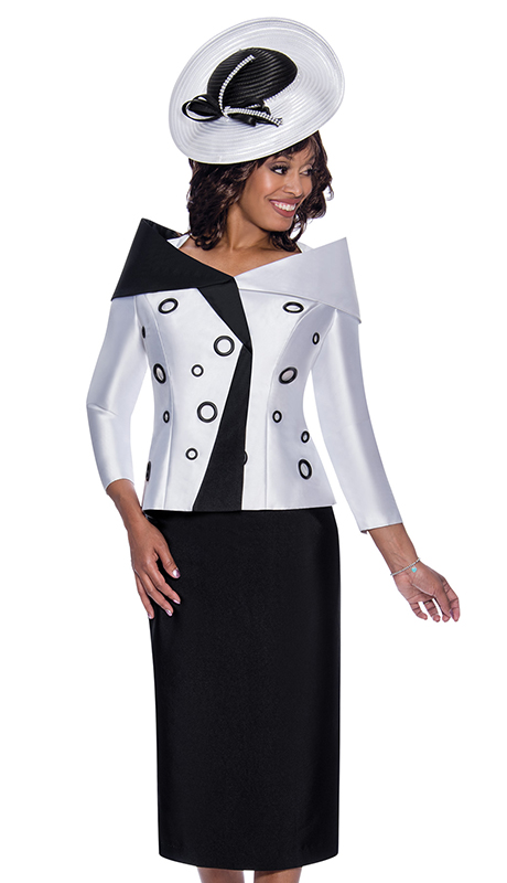 GMI 8652 ( 2pc Silk Look First Ladies Suit For Sunday With  Two Tone Design And Portrait Collar )