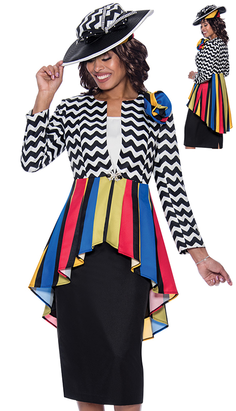GMI 8673 ( 3pc Novelty Womens Church Suit With Multi Print And High Low Colorful Jacket )