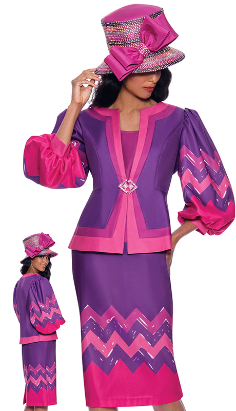 GMI 8683 ( 3pc Silk Look Womens Church Suit With Zig Zag Pattern And Balloon Sleeves )