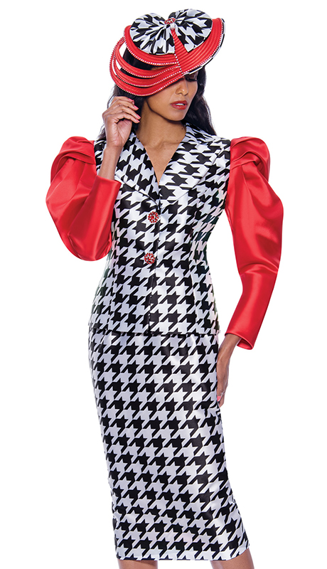 GMI 8692 ( 2pc Silk Look Womens Church Suit With Beautiful Houndstooth Pattern And Elegant Red Sleeves )
