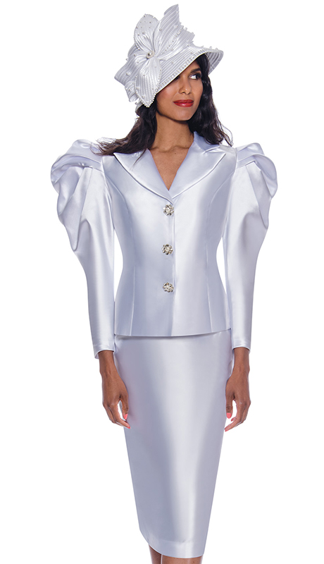 GMI 8702 ( 2pc Silk Look First Lady Suit With One Of A Kind Puffed Elegant Shoulders And Jeweled Buttons )