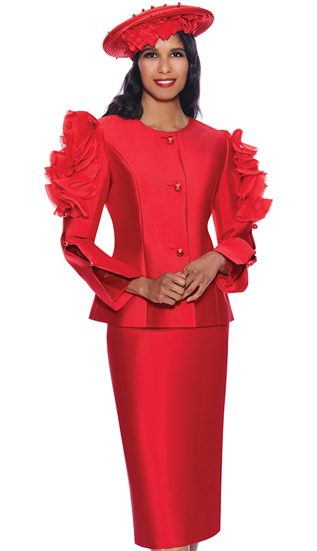 GMI 8712-RE ( 2pc Silk Look Womens Church Suit With Elegant Pearl Split And Ruffle Inspired Sleeves And Jeweled Buttons )