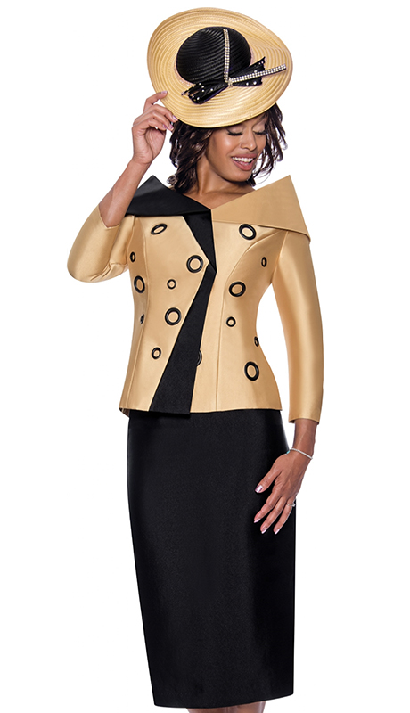 GMI 8652-GO ( 2pc Silk Look First Ladies Suit For Sunday With  Two Tone Design And Portrait Collar )