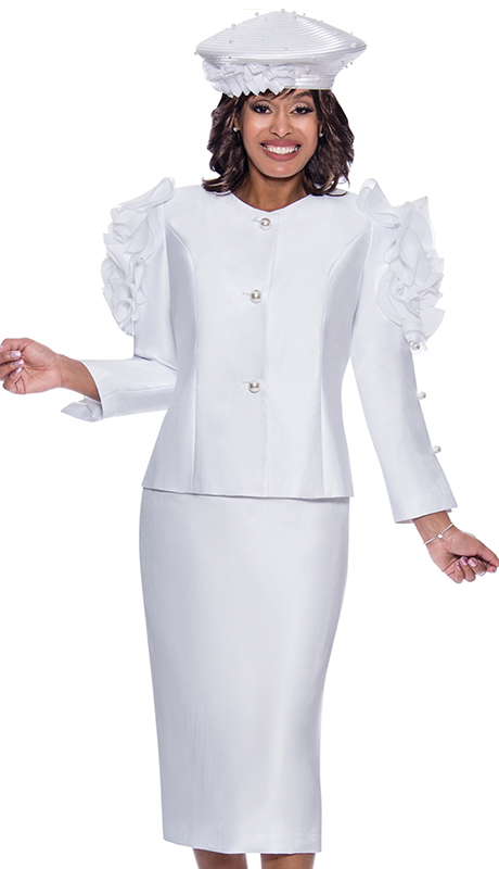 GMI 8712-WHT ( 2pc Silk Look Womens Church Suit With Elegant Pearl Split And Ruffle Inspired Sleeves And Jeweled Buttons )