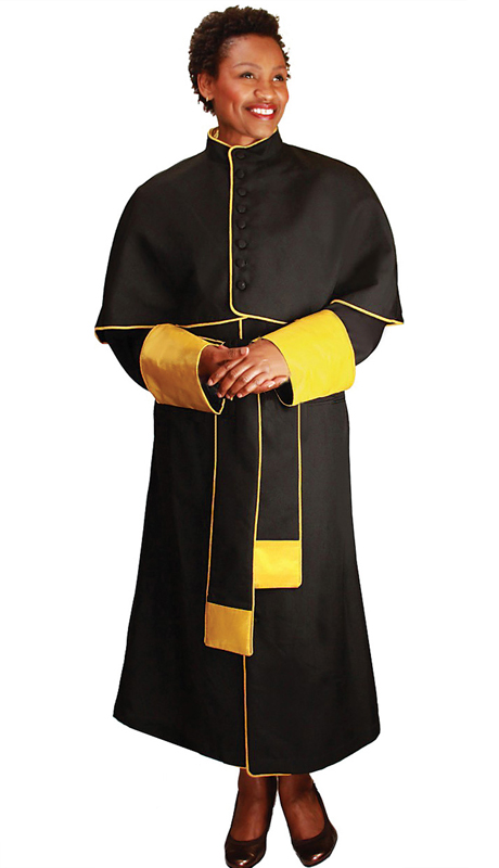 GMI RR9002-BK ( 1pc Papal Church Robe With Satin Cuffs and Collar )