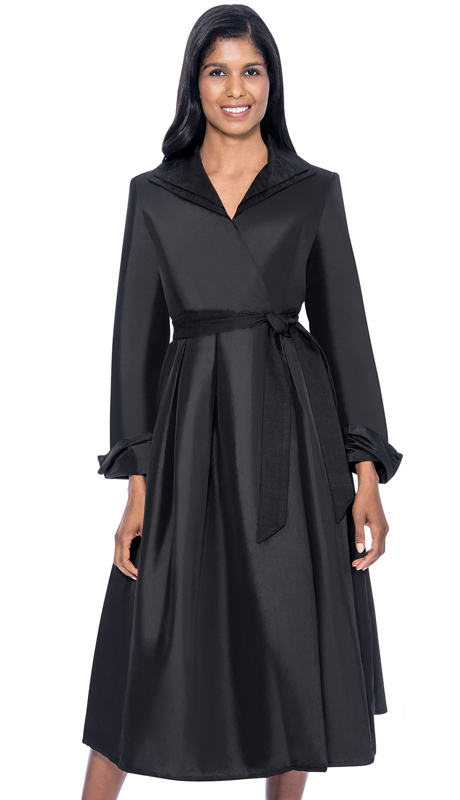 GMI DN5371-BK ( 1pc Silk Look Wing Collar Pleated Wrap Dress With Sash )