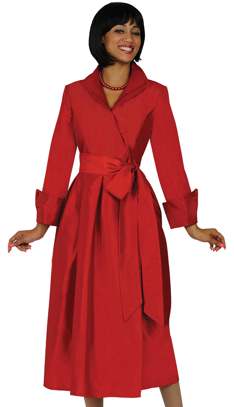GMI DN5371-RE ( 1pc Silk Look Wing Collar Pleated Wrap Dress With Sash )