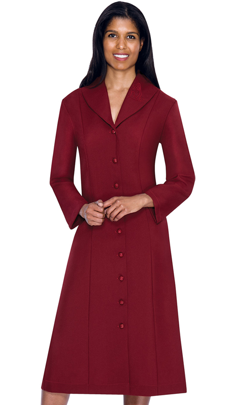 GMI G11674-BU ( 1pc Embroidered Shawl Collar Church Dress With Hidden Side Seam Pockets )