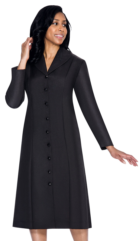 GMI G11674-BK ( 1pc Embroidered Shawl Collar Church Dress With Hidden Side Seam Pockets )