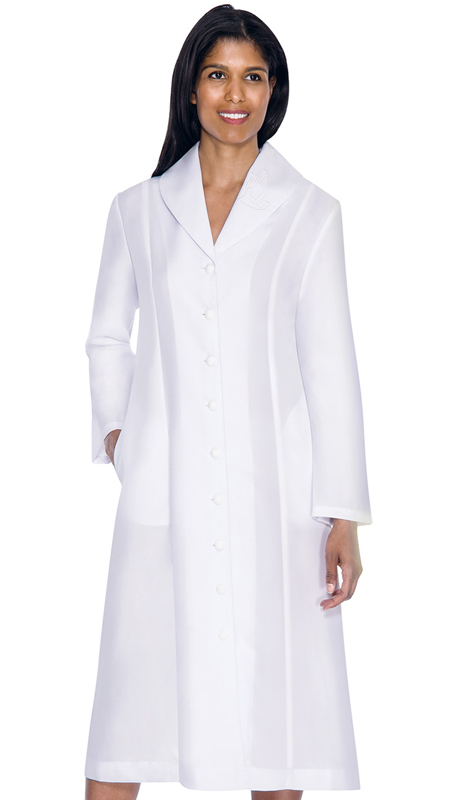 GMI G11674-WH ( 1pc Embroidered Shawl Collar Church Dress  With Hidden Side Seam Pockets )