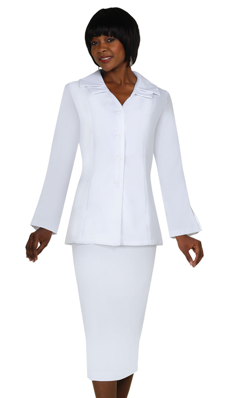 GMI G12777-WH ( 2pc Double Collar Single Breast Set With Side Seam Hidden Pockets )